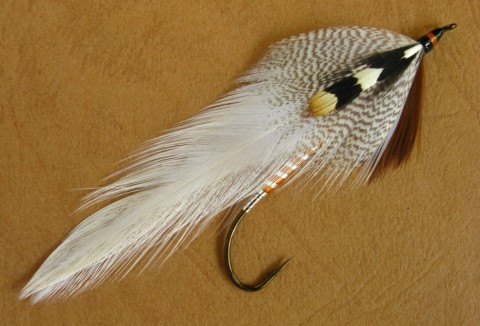 Queen of the Waters – the hook is a size #2 – 8x long – Gaelic Supreme Martinek / Stevens Rangeley Style Streamer.