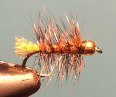 AMS Beadhead Mini Woolly Worm Brown w Burnt Orange Butt 14
