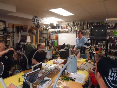 Chris Helm fly tying class - photo by Todd Schotts
