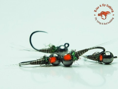 Live 4 Fly Fishing - Natural Quilled Nymph Orange Dot