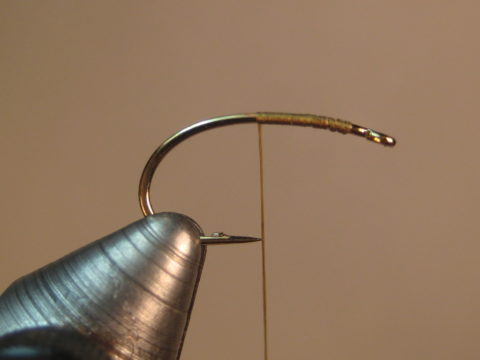 mash barb, start thread, wrap to point above point