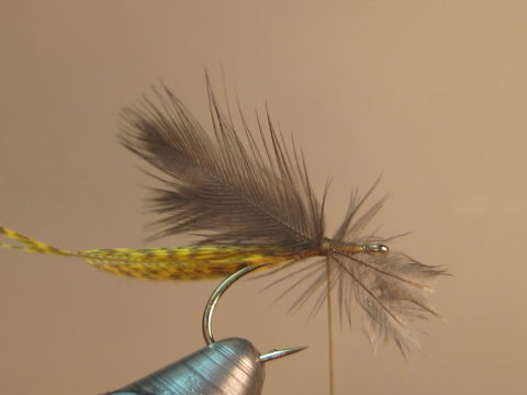 tie in halfway between hook point and eye, set upright with wraps at base
