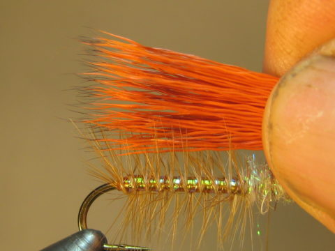 clean, stack, measure (tips to bend) a clump of deer hair; trim butts/tie in