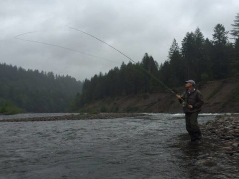 TFO Ambassador Thom Thornton casting an earlier prototype of the BVK Spey on the Sandy River in Oregon. Photo courtesy of Thom Thornton.
